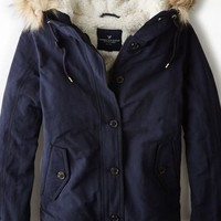 AEO Women's Cropped Parka (Uniform Navy)