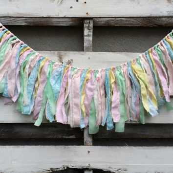 Pastel Pink  Mint Green and Aqua Blue Rag Tie Garland, Wedding Garland, Fabric Banner, Backdrop Garland, Rag Tie Garland