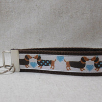 Adorable Keychain Wristlet Made With Dachshund Inspired Ribbon