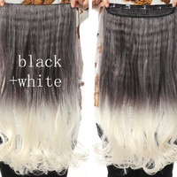 Black & White Ombre Hair Extensions - Clip in - Wavy - Cosplay Hair Extensions