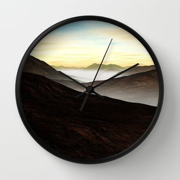Foggy Mountains Wall Clock by Texnotropio
