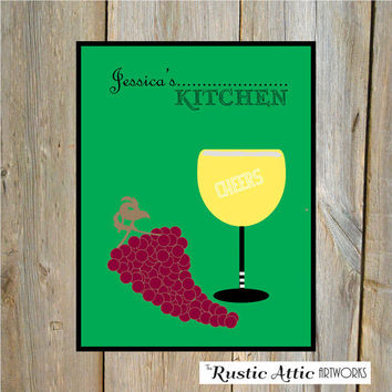 Personalized Kitchen Wall Art 8 x 10 Print, Wine Art, Cheery Print