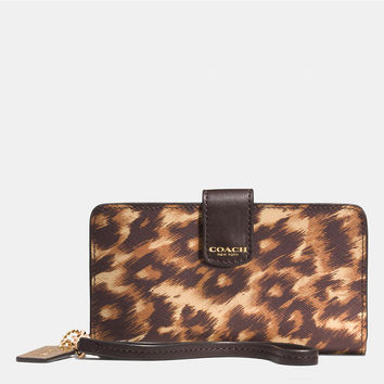 PHONE WALLET IN OCELOT PRINT SAFFIANO LEATHER