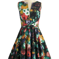 ModCloth Mid-length Sleeveless Fit & Flare Painted with Panache Dress in Garden