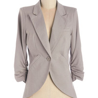 ModCloth Scholastic Mid-length 3 Fine and Sandy Blazer in Pebble