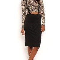 Solid Midi Skirt with Suspenders