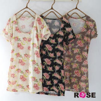 YESSTYLE: ROSE- Floral Print Tee (Cocoa - One Size) - Free International Shipping on orders over $150