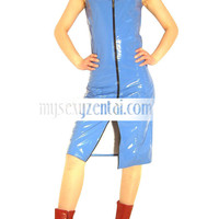 Catsuits & Zentai Navy Blue Shiny PVC Gown [TXL140] - $34.99