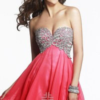 Short Strapless Homecoming Dress by Faviana
