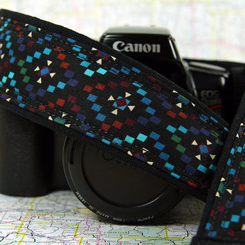 Southwestern Diamonds Camera Strap, dSLR or SLR, Aqua, Blue, Red, Turquoise, Tribal, 68 w
