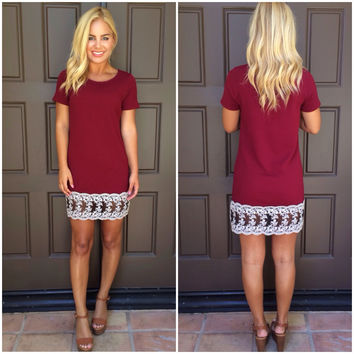 Against The Odds Shift Dress - BURGUNDY