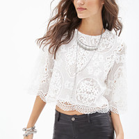 Embroidered Crochet Crop Top