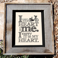 Bicycle quote Print - E. E. Cummings - 8x10 - &quot;I carry your heart with me&quot; - Typographic print