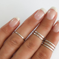 Silver stacking rings, 6 Above the knuckle rings,silver midi ring, plain band midi rings, silver shiny thin rings set of 6