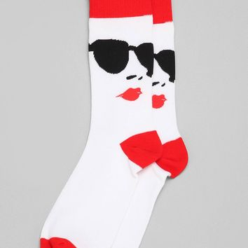 Sunglasses & Lips Sock - Urban Outfitters
