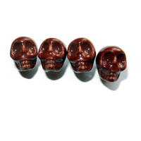 Chocolate Brown Porcelain Sugar Skull Beads, 14 Beads