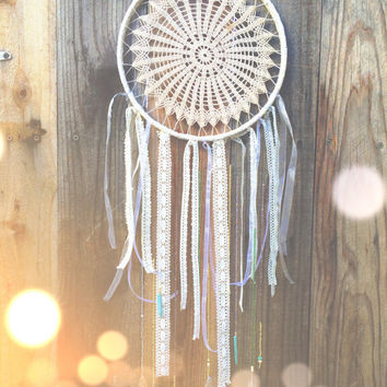 Off White, Amethyst, & Turquoise Beaded Crochet Doily Dreamcatcher