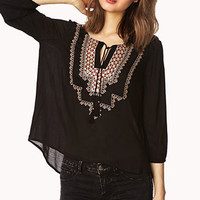 Sequined Peasant Top