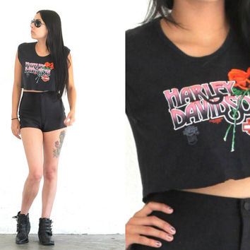 Vintage 80s Boho Hipster // Harley Davidson Floral Crop Top // Tank Top Muscle Tee // XS Extra Small / Small / Medium