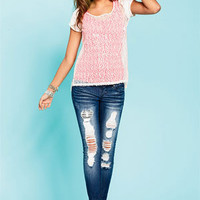 Destructed Sequin Skinny Jean