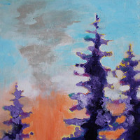 """Original Abstract Landscape Painting 8x8 Trees """"Trees at Sunset"""""""