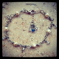 White and Gold Bracelet with white and gold beads, silver plated white gold blue bracelet