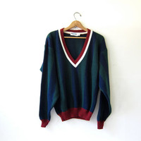 20% OFF SALE. 90s Preppy Sweater. Striped Pullover. Deep v neck sweater.