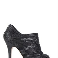High Heel Open Toe Lace Bootie with Stones