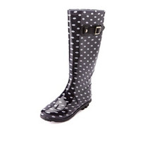 Rubber Polka Dot Rain Boots by Charlotte Russe - Black/White