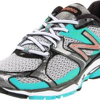 New Balance Women`s W1080 Running Shoe,Silver/Teal,8 D US