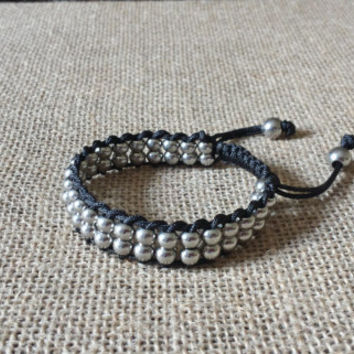 Bracelet with Double Layered Stainless Steel Metallic Beads
