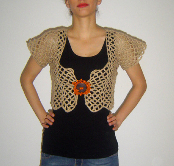 Womans Crochet Bolero, Handmade Beige/Orange Accessory, Bohemian Inspired, Wool Acrylic Fiber, OOAK