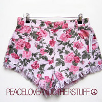 "SALE - Re-worked Vintage - Bespoke High Waisted - Floral Denim Shorts 31""W - UK 14, US 10 by PeaceLoveAndOtherStuff"