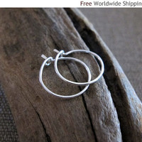 Little Hoops - Modern Sterling Silver Hoop Earrings by NadinArtDesign