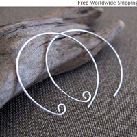 Handmade Silver Hoops w/h tiny spiral - Modern Earrings by NadinArtDesign