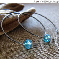 Handmade Hoops with Aquamarine Crystal - Oxidized Sterling Silver Artisan Earrings by NadinArtDesign