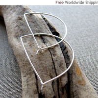 Sterling Silver Hoops - Modern D-Shape Earrings by NadinArtDesign