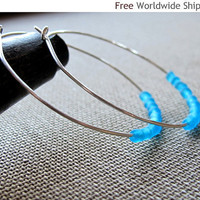 Hnadmade Sterling Silver Hoop Earrings with Blue Etched Glass Beads - Artisan Hoops by NadinArtDesign