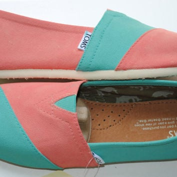 Custom Hand Painted TOMS in Coral and Light Blue