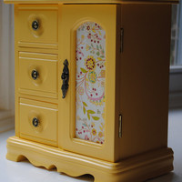 Vintage Jewelry Box, Glossy Yellow Finish, Music Box, Refurbished, Upcycled with Modern Updates