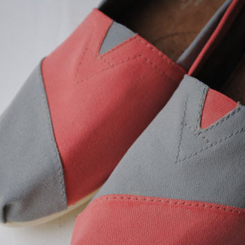 Custom Hand Painted TOMS in Coral and Light Gray