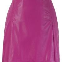 Faux Leather Bud Skirt in Hot Pink