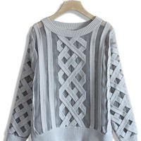 Mesh Cable Knit Grey Sweater