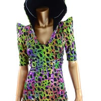 Poisonous Holographic RED Spiked Dragon Hoodie Romper
