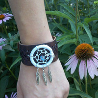 Dream Catcher Leather Cuff Bracelet with Feathers