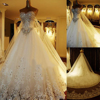 custom made Vintage a-line wedding dresses beading crystal sweetheart floor length applique wedding gowns with cathedral trailing