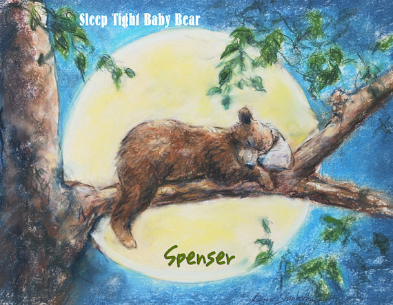 Personalized Nursery baby Bear Animal Art Print, blue custom child room kids bedroom 8x10