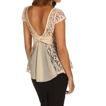 Natural Lovely Lace Back Peplum Top