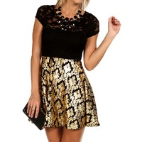 Gold Lace And Foil Skater Dress