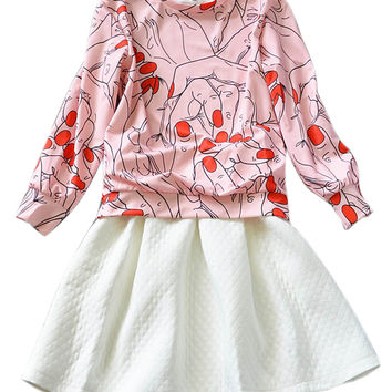Hands with Red Nail Print Top + White Jacquard Skirt - Choies.com